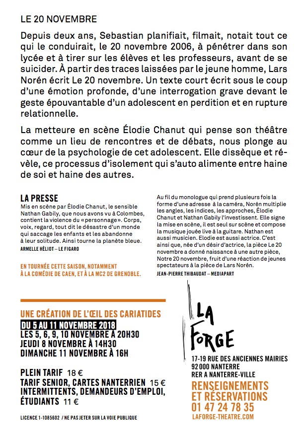 Verso Flyer 20 Novembre oeil des cariatides